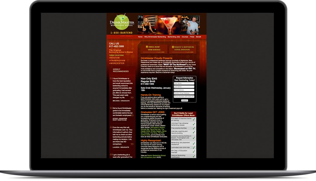 Older Site Design for DrinkMasterBartending.com