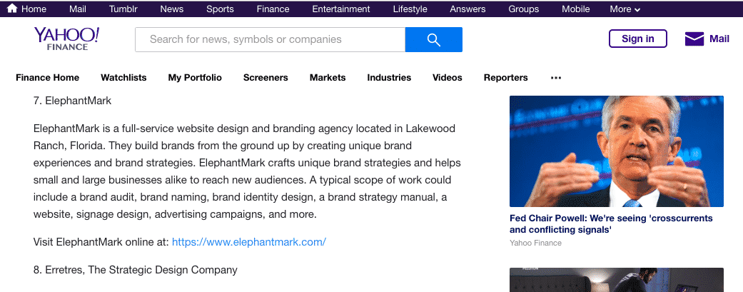 ElephantMark Listed in The Top 25 Brand Identity Design Agencies on Yahoo